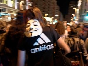 Anonymous Antifascista. Día de la Mujer en Madrid. Manifestación contra la Ley del aborto de Gallardón (Partido Popular). By Luis F. Roncero