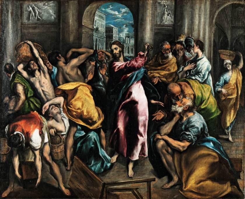 Expulsión de los mercaderes del Templo, El Greco, 1600. Imagen en Dominio público