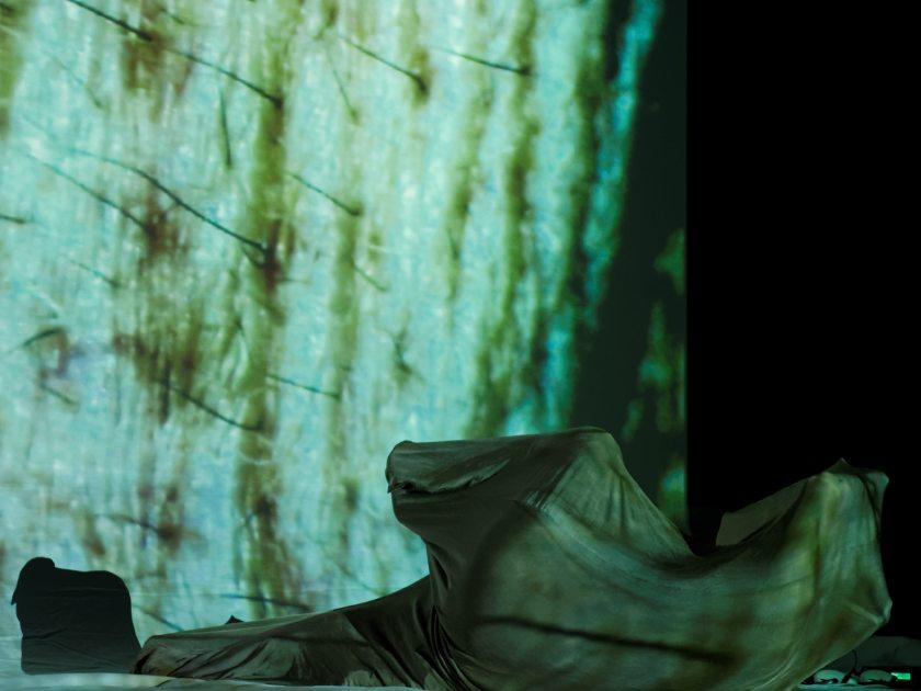 """Un cuerpo en una crisálida. Claudia Robles-Ángel representando la performance audiovisual """"SKIN"""" en el festival Madatac. Fotografía de Luis F. Roncero."""