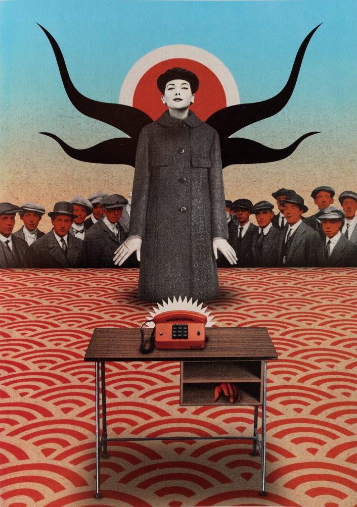 "Julien Pacaud - Anonymous calls from the future. Extraido del ""Atlas de la ilustración contemporánea"" (Maomao Publications, en 2009)."