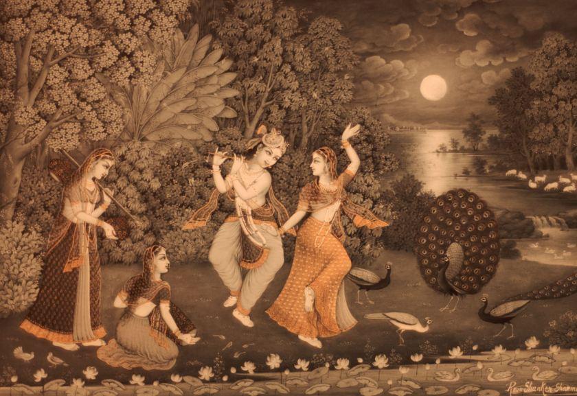 """Radha y Krishna bailan a la luz de la luna (Reva Shankar Sharma, 2010). Parte de la exposición """"Forms of Devotion: Arte y espiritualidad en la India de hoy"""" celebrada en el centro cultural Conde Duque Madrid. Fotografía de Luis F. Roncero."""