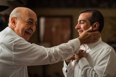 Groom and Father Getting Ready by Luis Ibarra Wedding Photographer in Mexico