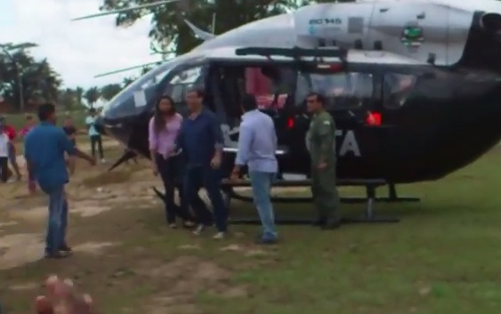 Flávio Dino usa helicóptero do GTA para ir no município de Matinha