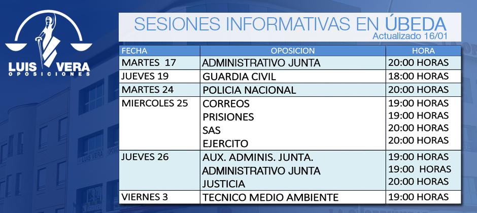Luis Vera Oposiciones celebra en sus centros durante enero y febrero sesiones informativas