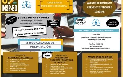 OPOSICIONES DOCENTES INSPECCIÓN EDUCATIVA – Sesión informativa próximo viernes día 24 de enero a las 19:00 horas.