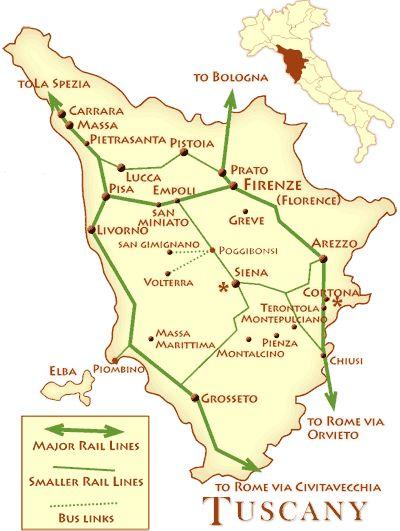 トスカーナの鉄道路線図