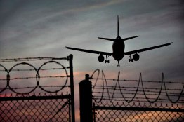 An airplane lands in Vancouver International Airport on Monday, March 11, 2013.