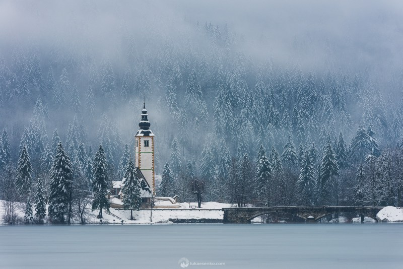 Lake Bohinj in snow