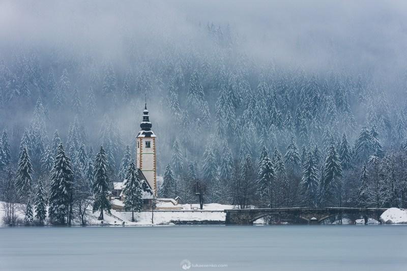 Lake Bohinj in snow