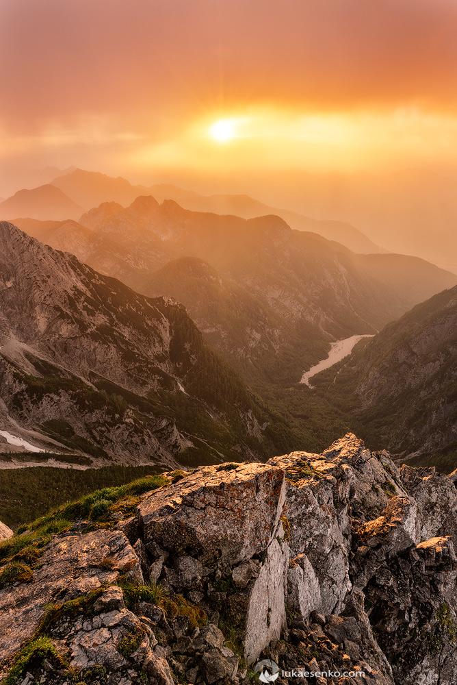 Sun peeking through the clouds, Julian Alps