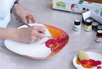 Pintura em prato c/tinta porcelana