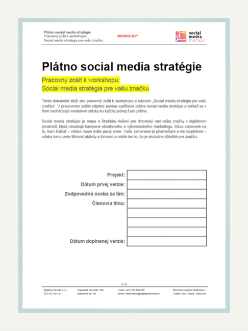 """Ukážka pracovného zošita k workshopu """"Social media stratégia pre vašu značku"""""""