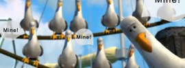 "seagulls saying the word ""Mine"""