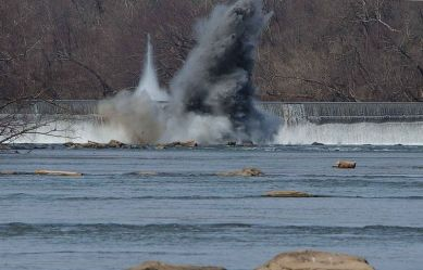 water causes an explosion at a dam