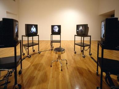 Bruce Nauman World Peace (Received), 1996 5 each: video discs, monitors, video disc players, switchers, 6 utility carts, remote contro, and stool 126 in. diameter (320 cm) SW 96378