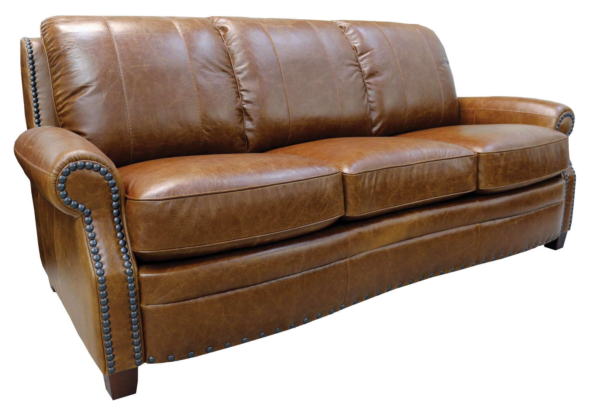 brown leather studded sofa bargain sofas with studs camel wayfair thesofa