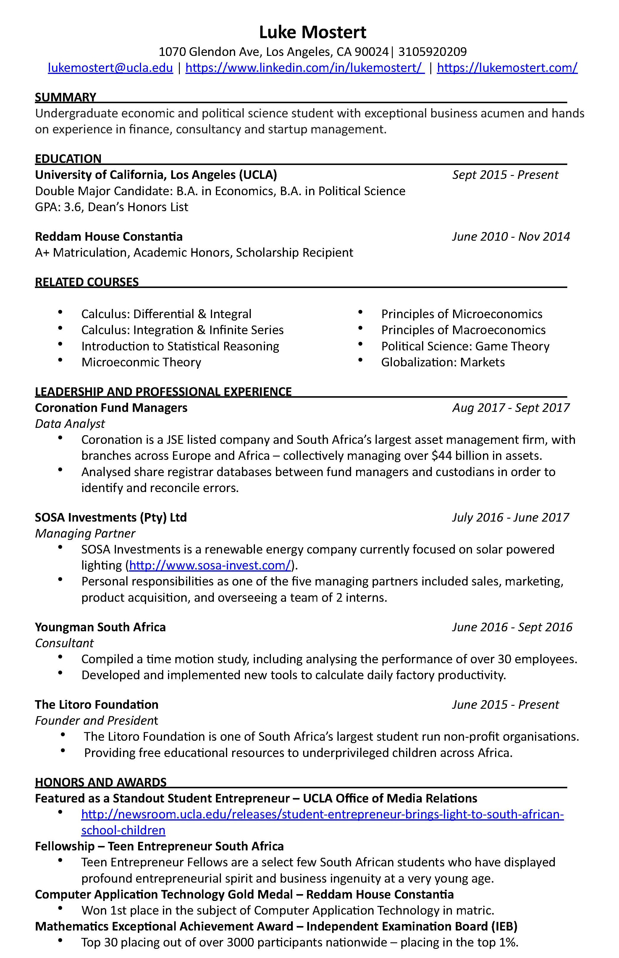 Resume Of An Entrepreneur Resume Of Luke Mostert Luke Mostert