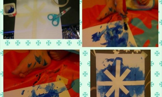 Masking Tape Resist Christmas Star of Bethlehem