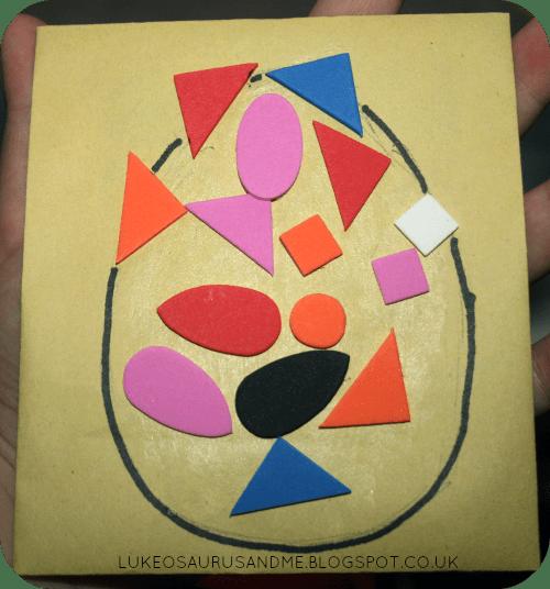 Easter Activities For Toddlers. Foam Sticker Easter Egg Cards from lukeosaurusandme.co.uk