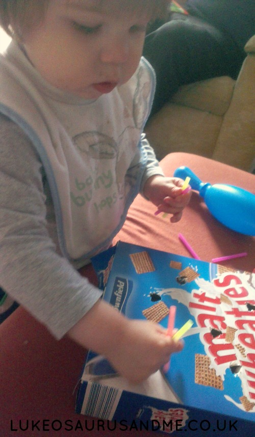 Fine Motor Skills With A Cereal Box from lukeosaurusandme.co.uk