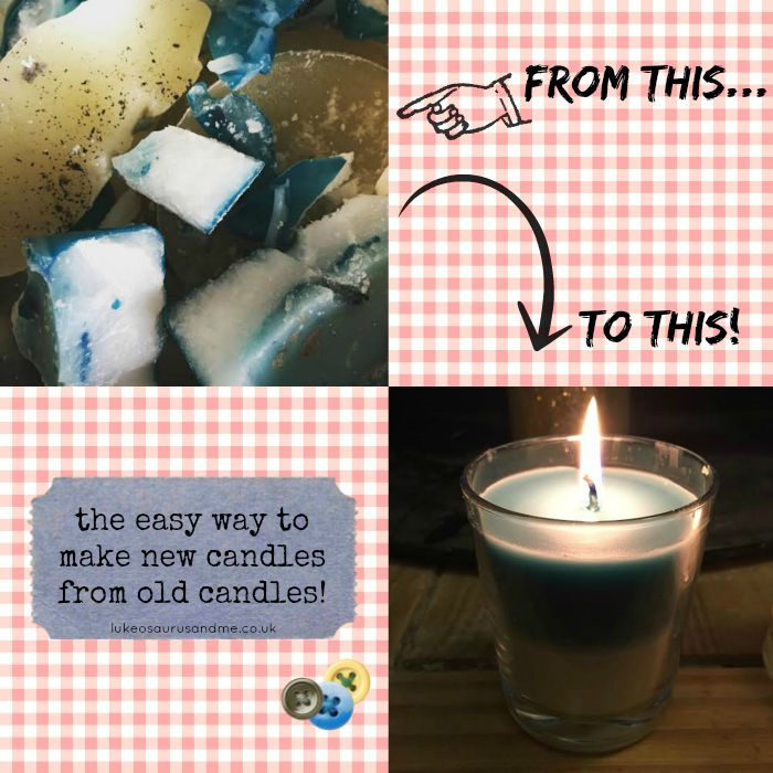 How to make new candles from old candle wax from lukeosaurusandme.co.uk