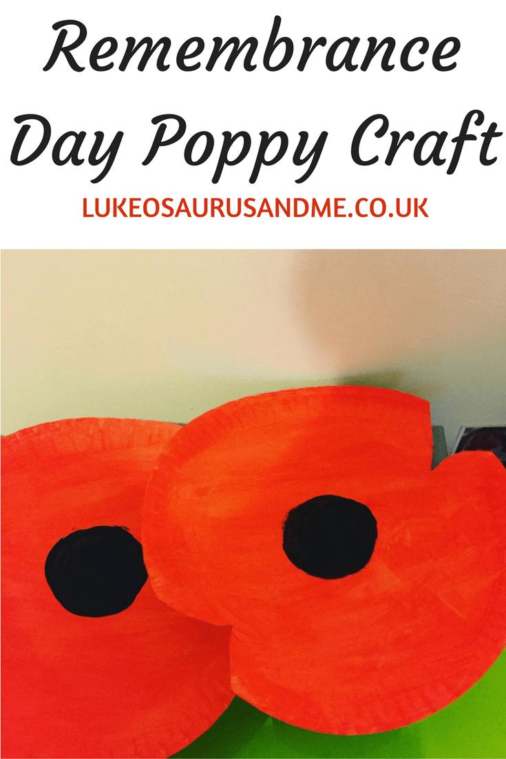 Remembrance Day Poppy Craft for kids at family lifestyle blog https://lukeosaurusandme.co.uk