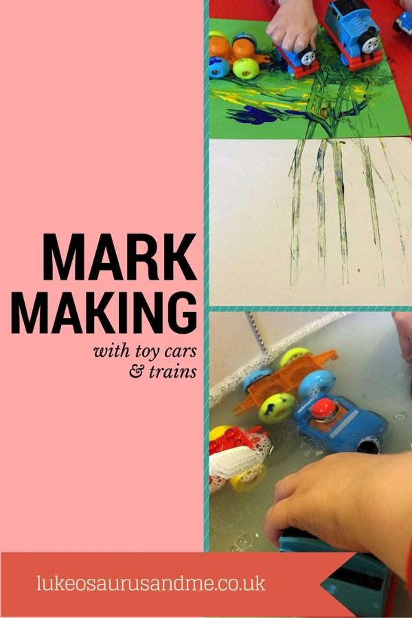 Mark Making with Toy Cars and Trains https://lukeosaurusandme.co.uk @gloryiscalling