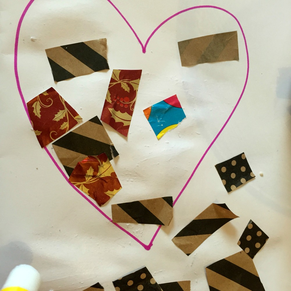 Reuse old wrapping paper to make valentines day cards at http://lukeosaurusandme.co.uk @gloryiscalling