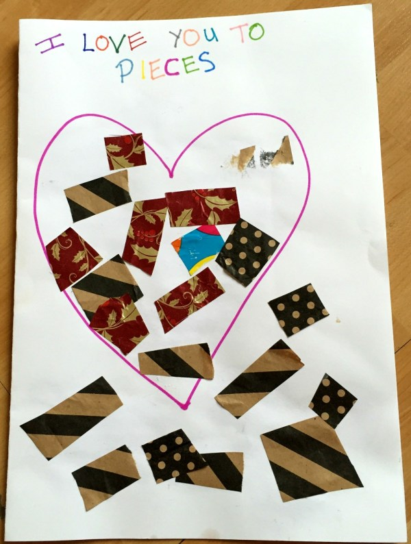 I love you to pieces toddler valentines day card at https://lukeosaurusandme.co.uk