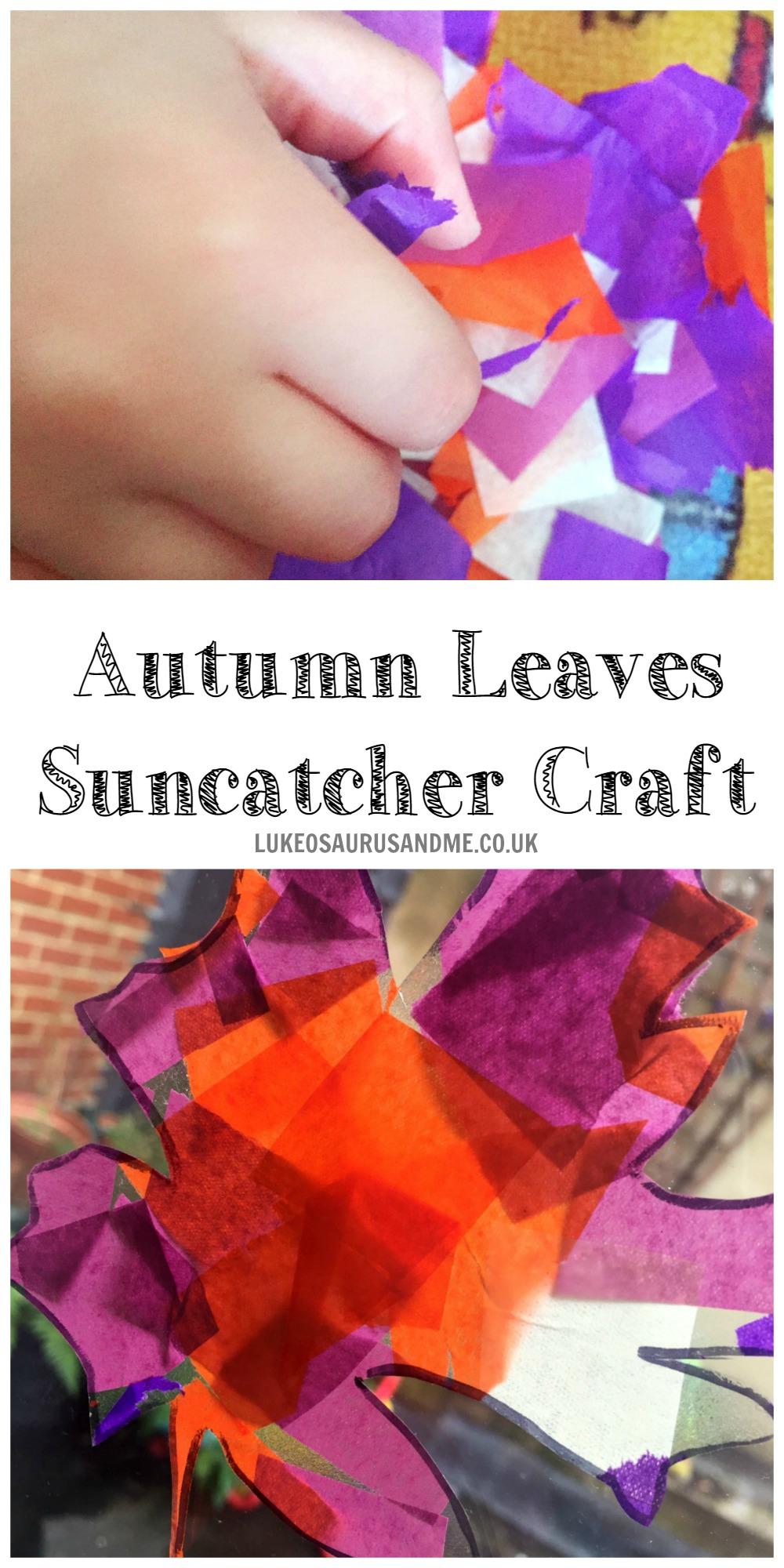 Autumn Leaves Suncatcher Craft at https://lukeosaurusandme.co.uk