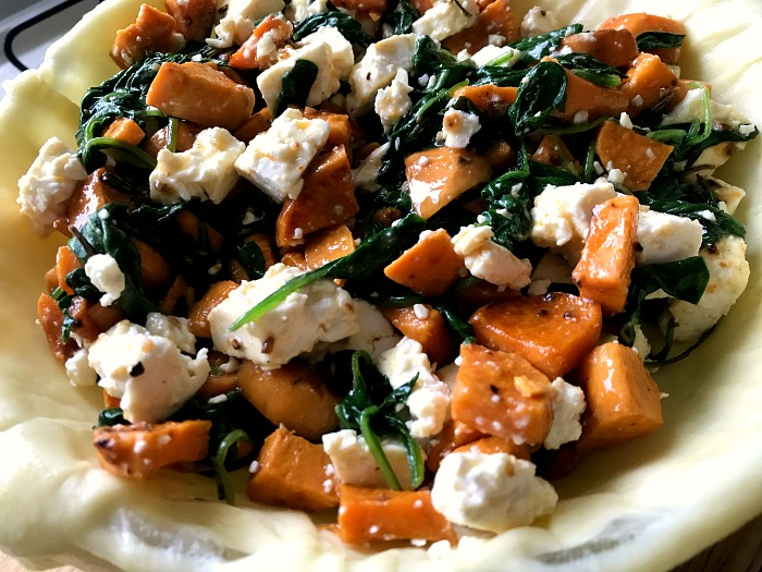 Vegetarian Feta Cheese, Sweet Potato and Spinach Pie at http://lukeosaurusandme plus food budgeting tips