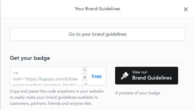 Logojoy brand guidelines feature. Full review at http://lukeosaurusandme.co.uk