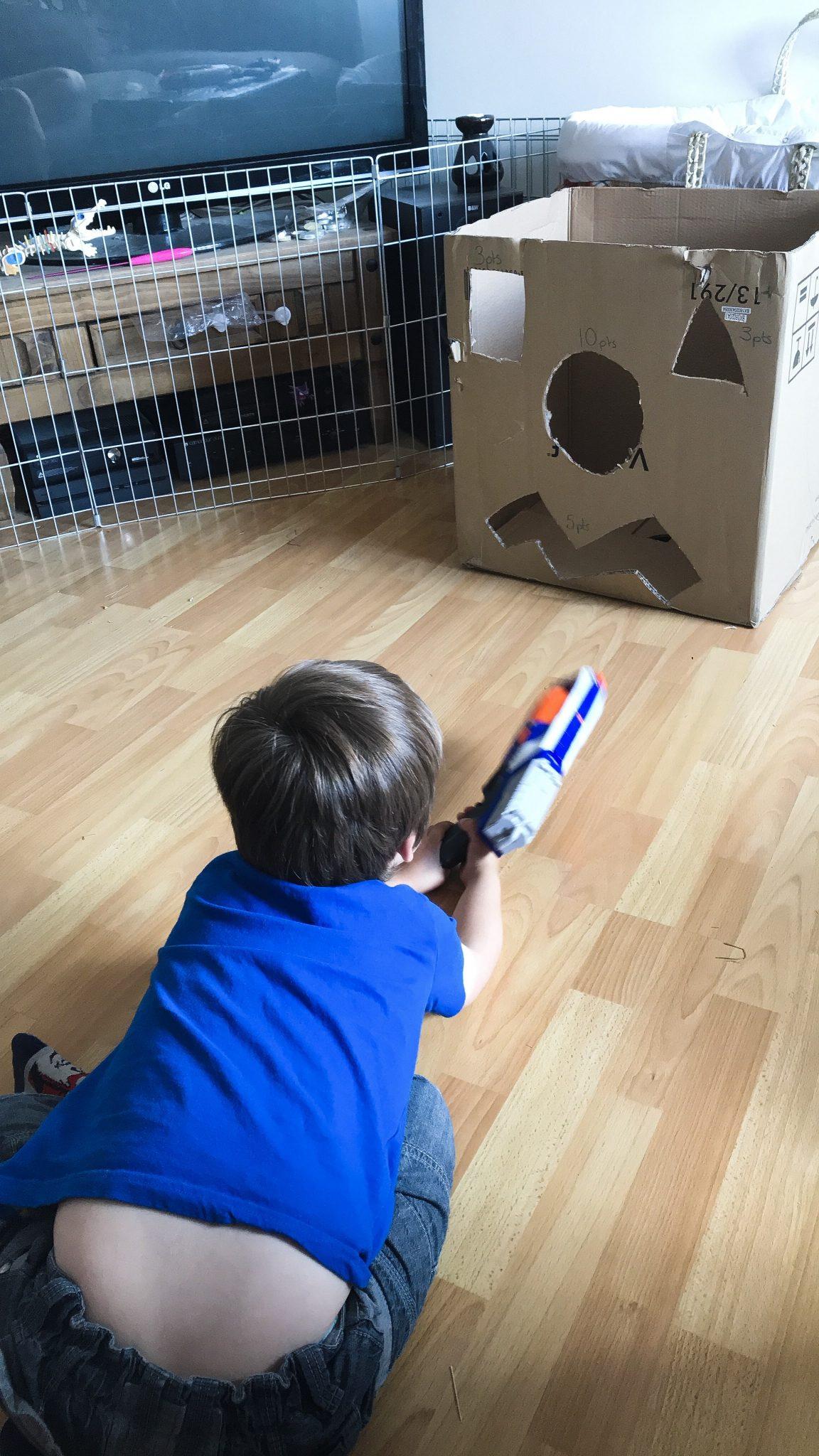 Quick and Easy DIY Nerf Gun Target Game For Kids at https://lukeosaurusandme.co.uk