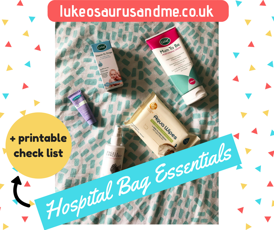 Hospital bag essentials for pregnancy and labour, including free printable check list at https://lukeosaurusandme.co.uk