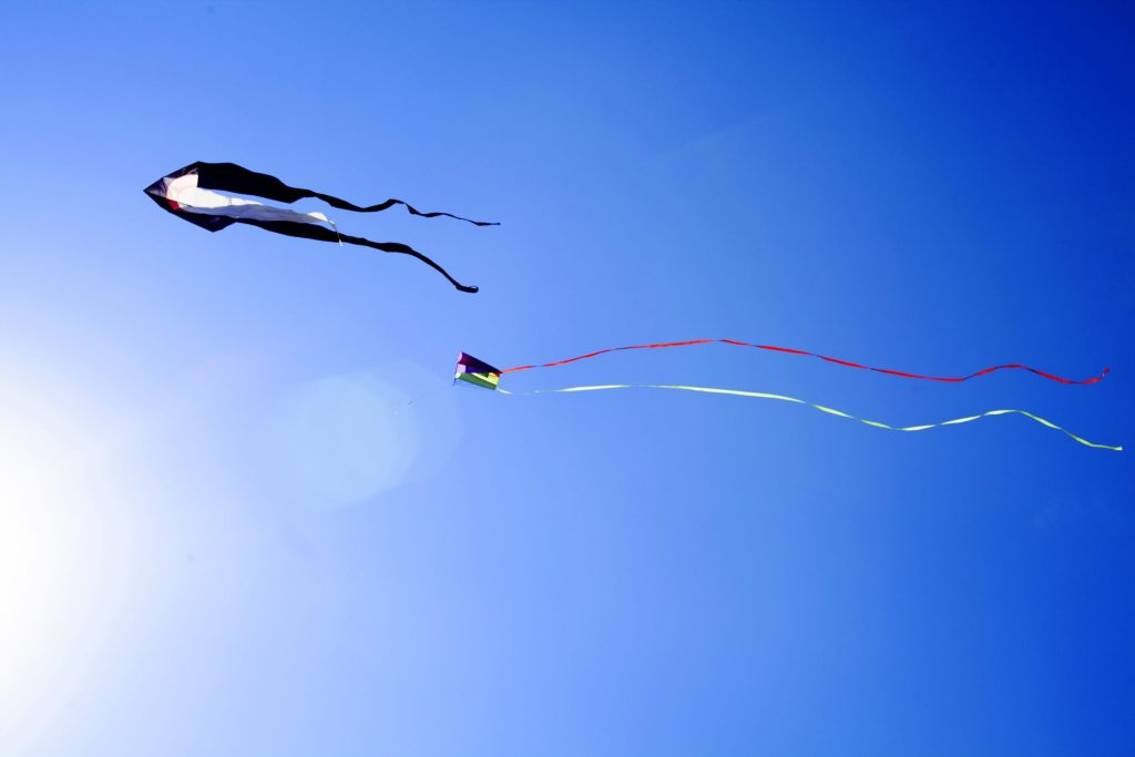 Kites flying at Sandown Beach, Isle Of Wight. Visited as part of Red Funnel Ferry's self guided day trip package - more at https://lukeosaurusandme.co.uk