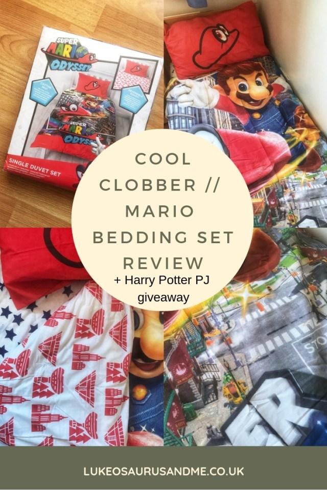 Cool Clobber Super Mario Bros Odyssey Bedding Set Review and Harry Potter pyjama giveaway at https://lukeosaurusandme.co.uk