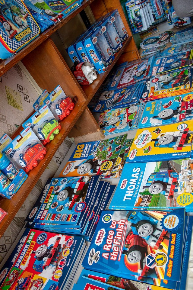 Thomas books and toys in the shop at the Watercress Line during their Day Out With Thomas Easter event. Read more at https://lukeosaurusandme.co.uk