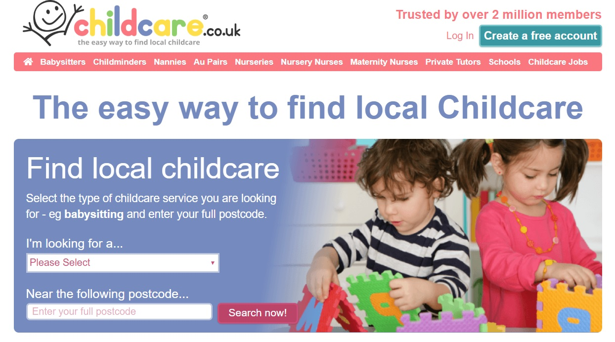 screenshot of the childcare.co.uk website homepage