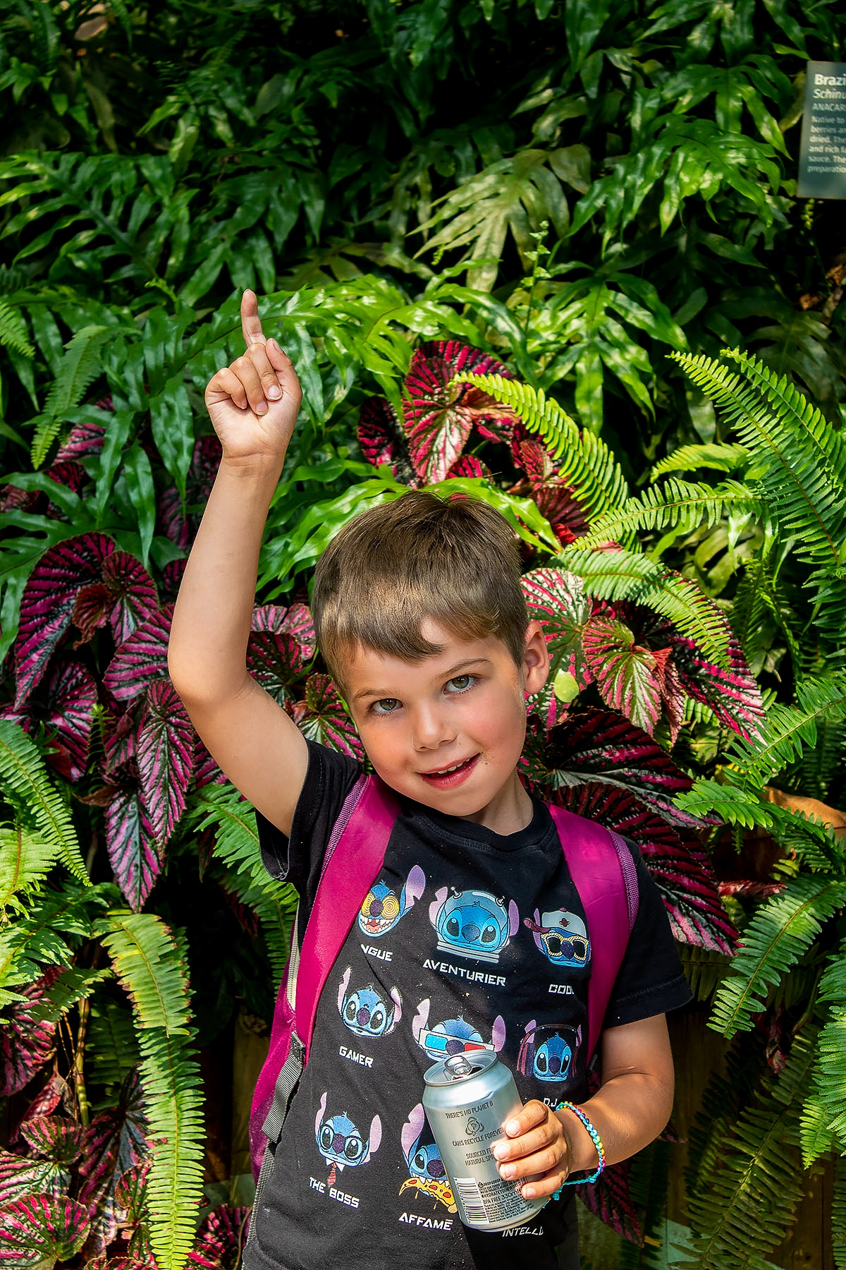 Luke pointing upwards as he stands in front of a collection of tropical ferns