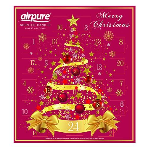Product image of the AirPure Scented Candle Advent Calendar. A red advent box with a gold Christmas tree with ribbons and baubles.