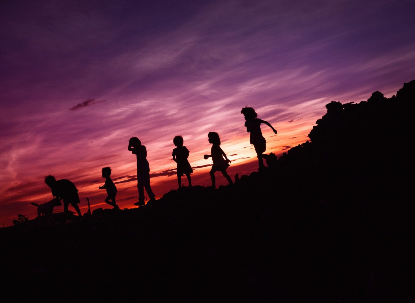 Silhouette of kids playing with their dog during sunset, running down a hill.