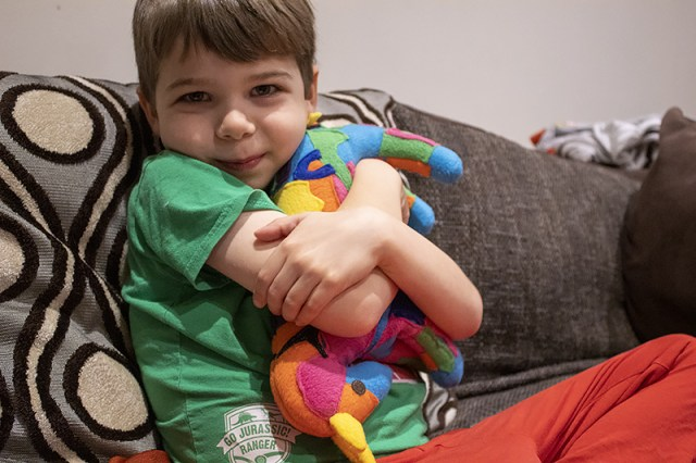 Boy cuddling a customised multicoloured toy horse for a post about Petplan Equine Insurance