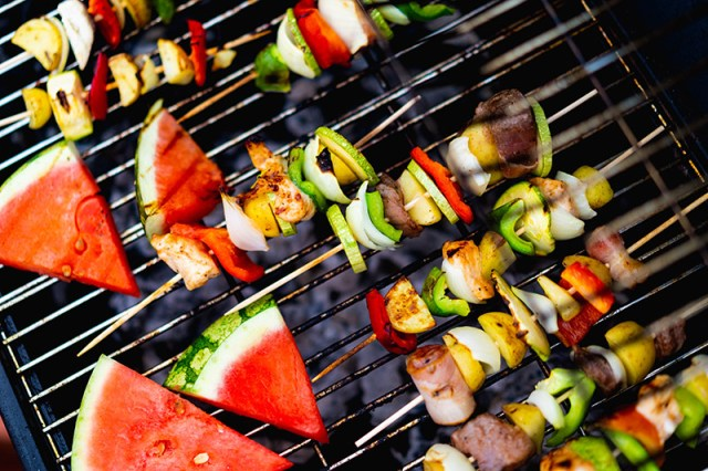 a colourful array of fruit and vegetables on a bbq for a blog post about moving home.