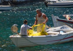 Inter-generational fishing, Ammoudi Bay, Oia, Santorini