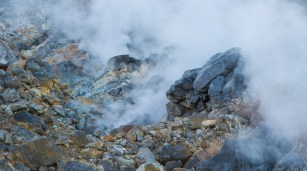 Steaming sulphur vents, Owakaduni, Hakone
