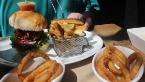 Pulled Pork Burger and Onion Rings from The Black House The Grill On The Square