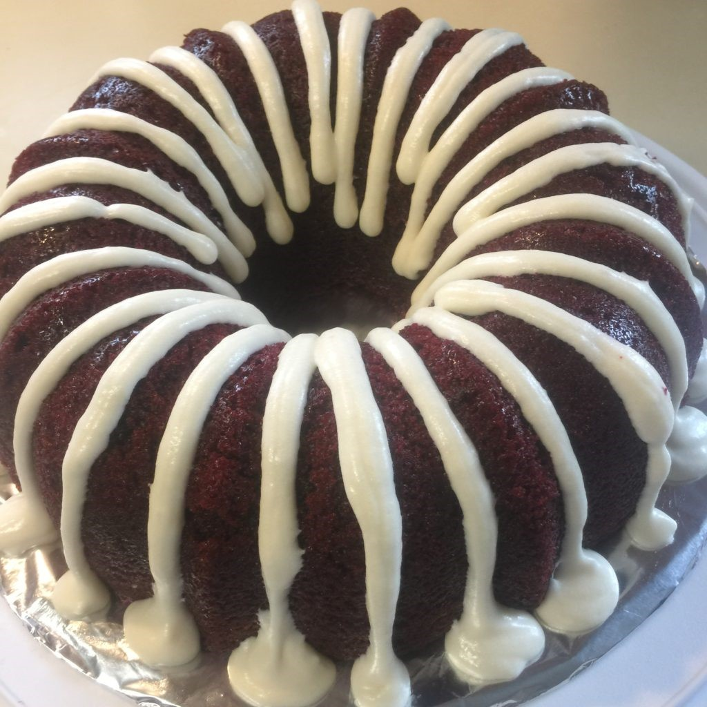 RED ROOSTERS RED VELVET CHOCOLATE CHIP CAKE