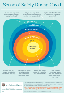 A diagram show a self-care model for having a sense of safety during COVID