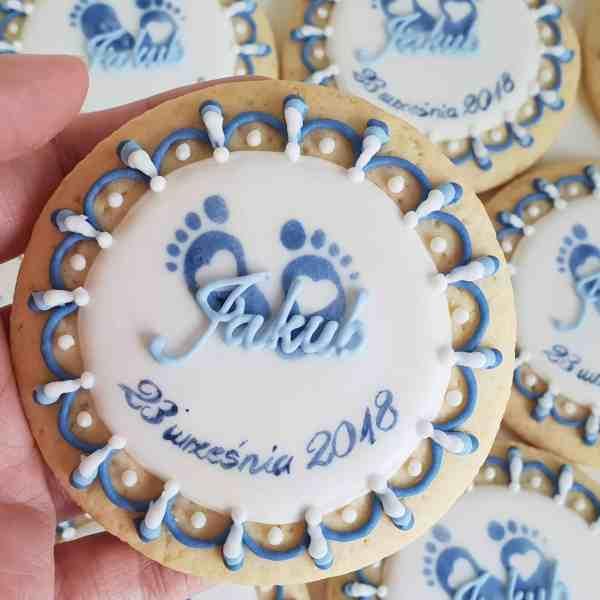Lukrowane ciasteczka na chrzest, chrzest chłopca, podziękowania dla gości - Basia sweets