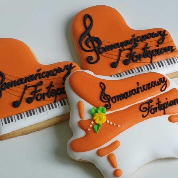 Lukrowane ciasteczka, ciastka reklamowe, pomarańczowy fortepian, ciasteczka z logo, ręcznie dekorowane ciasteczka Basia sweets